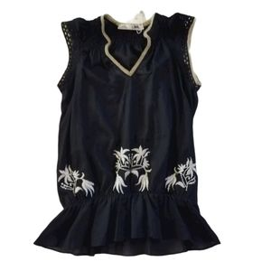 Anthropologie Solitaire Black Embroidered Top